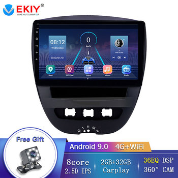 EKIY 36EQ DSP For Toyota Aygo for Citroen C1 for Peugeot 107 Car Radio Multimedia Video Player Wifi/4G Headunit with 360 Camera image