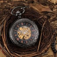Vintage Bronze Skeleton Mechanical Pocket Watch Men Roman Dial Steampuk Hand Wind Pendant Clock Chain Watch Reloj de bolsillo