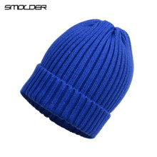 [SMOLDER]New Arrival Skullcap Knitted Hat Women Men Acrylic Beanie Cap Unisex Solid Color Keep Warm Elastic Hats 11 Colors(China)