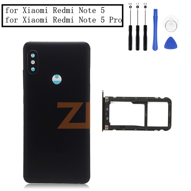 Original For Xiaomi Redmi Note 5/ Note 5 Pro Battery Back Cover Rear Door Housing + Side Key Card Tray Holder Replacement Parts