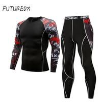 Men clothing compression union suit 2 piece tracksuit rashgard kit MMA 3D printed shirt tights long sleeve t shirt men leggings