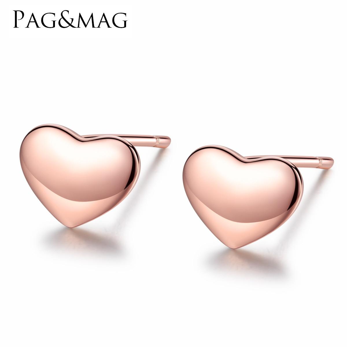 PAG-MAG simple amour-type oreille ongles femmes cent mis en place S925 pur argent galvanoplastie or rose boucles d'oreilles