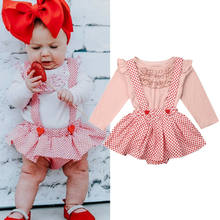 2Pcs Cute Newborn Baby Girls Clothes Set Princess Ruffle Pink Tops Romper+Bib Shorts Dress Infant Kids Autumn Outfit Suit(China)