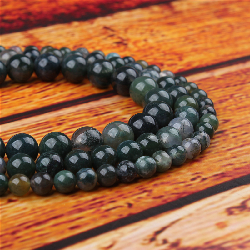 Aquatic Agate Natural Stone Bead Round Loose Spaced Beads 15 Inch Strand 4/6/8/10/12mm For Jewelry Making DIY Bracelet