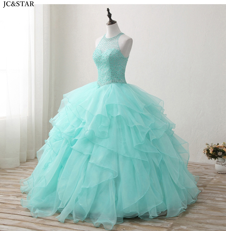 Купить с кэшбэком Mint Ball Gown New O Neck Backless Tulle Beaded plus size evening gown floor length vestido baile real photo prom dresses