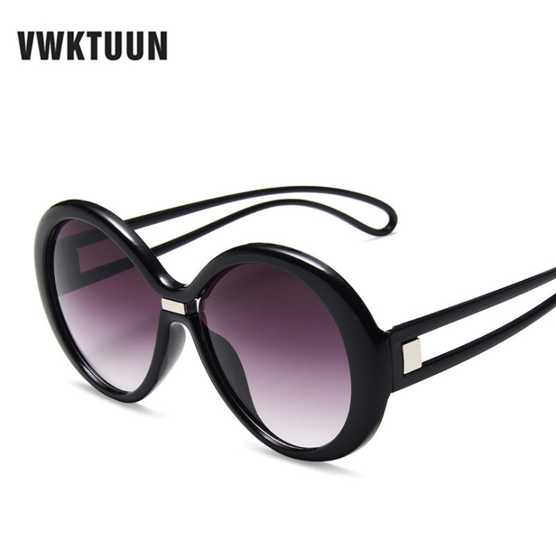 VWKTUUN Sunglasses Women 2019 Round Shades for Women Oversized Sunglasses Luxury Wide Frame Sun glasses Vintage UV400 Oculos in Women 39 s Sunglasses from Apparel Accessories