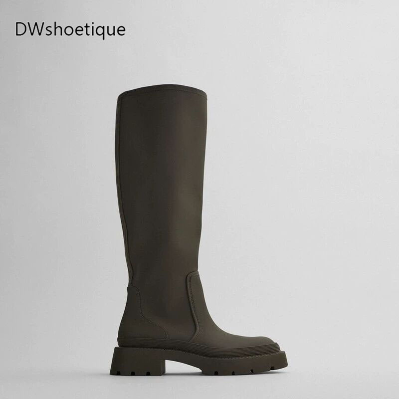 New round toe platform women knee boots slip on casual chunky heel women long boots