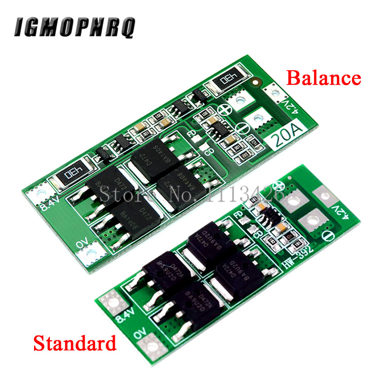 10pcs/lot <font><b>2S</b></font> <font><b>20A</b></font> <font><b>7.4V</b></font> 8.4V 18650 Lithium battery protection board/BMS board standard/balance image