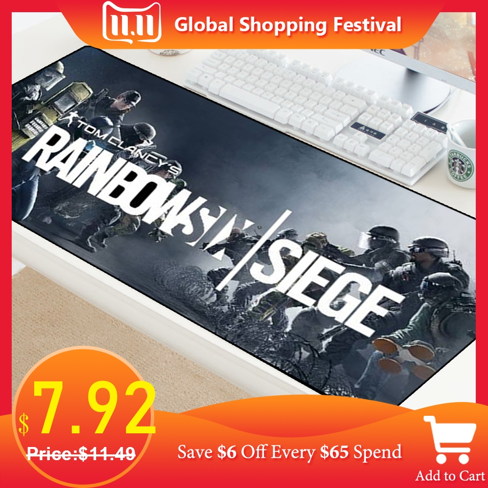 Large Mousepad Gaming Lockedge Rubber Cloth Gamer Mouse Pad Rainbow Six Siege Anti-slipDesk Mat For PC Computer Laptop Notebook