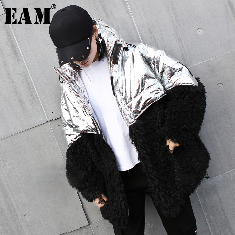 [EAM] Hooded Cotton-padded Warm Fur Coat Drawstring Long Sleeve Loose Fit Women Parkas Fashion New Autumn Winter 2019 1A043