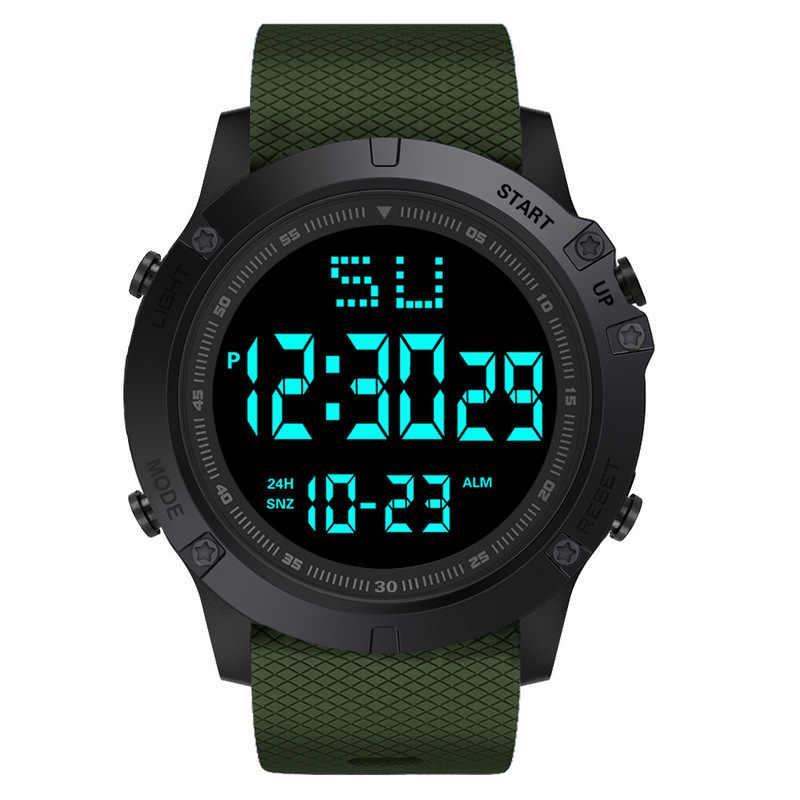 Moda homem led digital relógio à prova dwaterproof água data militar esporte borracha relógio de quartzo alarme esporte relógios digitais reloj hombre 2019