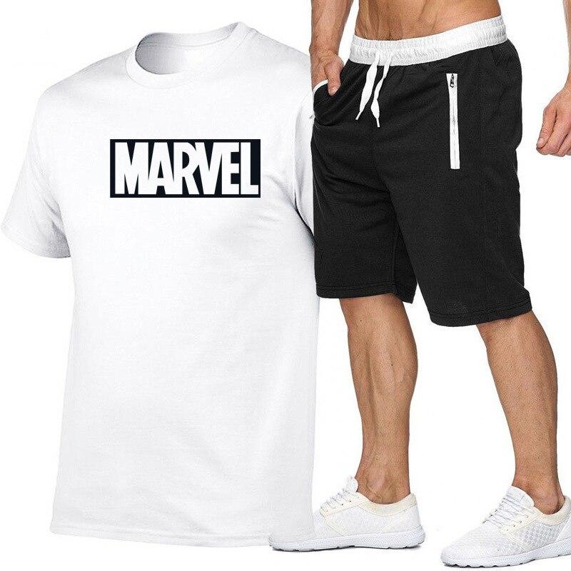 2019 Summer Wear Hot Selling Men's Pure Cotton Marvel Short Sleeve T-shirt Suit Trend Leisure T-shirt Shorts Set
