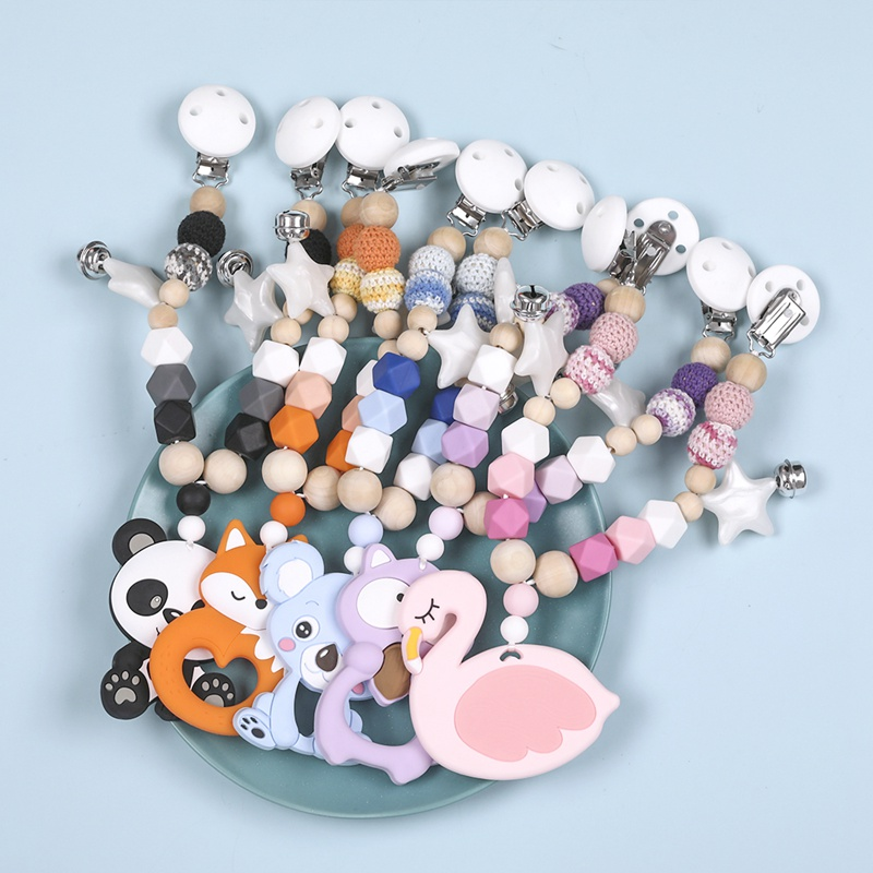 Baby Teethers Silicone Animals Rodent Beech Wooden Rattles Crochet Beads Teething Baby Toys Pendant Pacifier Clip Stroller Chain