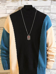 ZUSIGEL Pullover Mens Sweaters Turtleneck Knitted Plus-Size New for Hip-Hop Half M-7XL