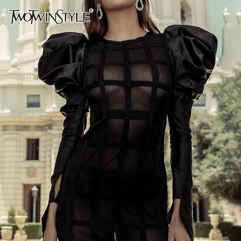 TWOTWINSTYLE Sexy Mesh Plaid Blouses For Women O Neck Puff Long Sleeve Patchwork Short Shirts Female Fashion 2020 Clothing Tide