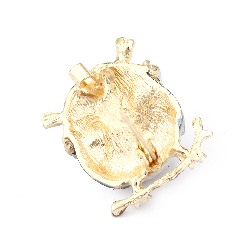 H350157X 滴油 猫头鹰 带 珍珠 胸针 (9)