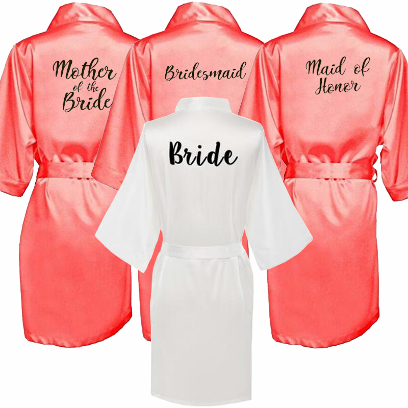 Sexy Kimono Bridal Pajamas Wedding Robe Bridesmaid Matron Maid Of Honor Sister Mother Of The Bride Robes