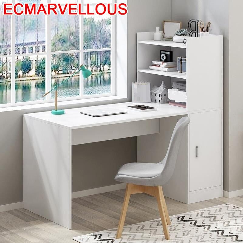 Scrivania Ufficio Bureau Meuble Bed Small Escrivaninha Escritorio Laptop Stand Tablo Computer Desk Mesa Table With Bookshelf