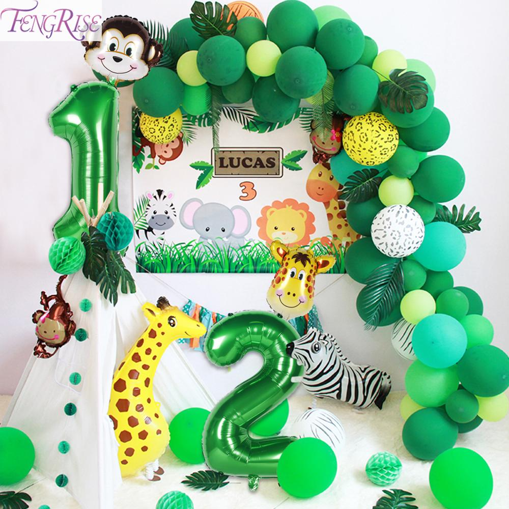 FENGRISE Green Number Foil Balloons Safari Jungle Party Decor 1st Birthday Party Decoraions Kids Wild One Year Birthday Boy