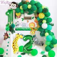 Fengrise зеленые фольгированные воздушные шары с цифрами сафари