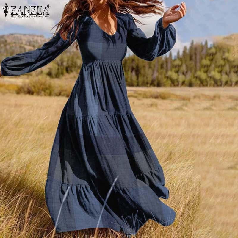 Frauen Herbst Sommerkleid ZANZEA 2020 Mode Rüschen Maxi Kleid Casual Puff Hülse Tunika Vestidos Plaid Print Robe Plus Größe s-5XL