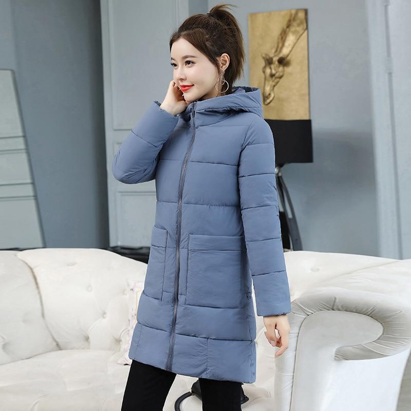 2019 Fashion Winter Medium Long Women Down   Parkas   Jacket Hooded Coat Slim Warm Elegtant Winter Coat Women Casual Jacket