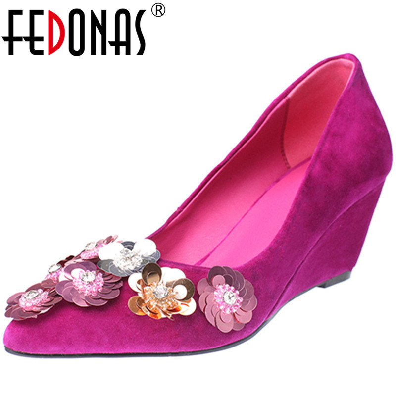 FEDONAS Women Pumps Kid Suede Glitters Embroider Flowers Classic Design Elegant Pointed Toe Spring Summer Shoes Woman
