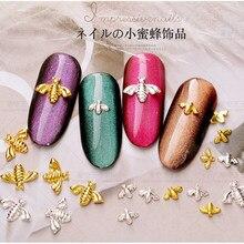 Arte decorativa para unhas, decoração de abelha dourada e prateada 3d japonesa, faça você mesmo, rebites de manicure, joias, decoração de joias, 10 pçs/lote