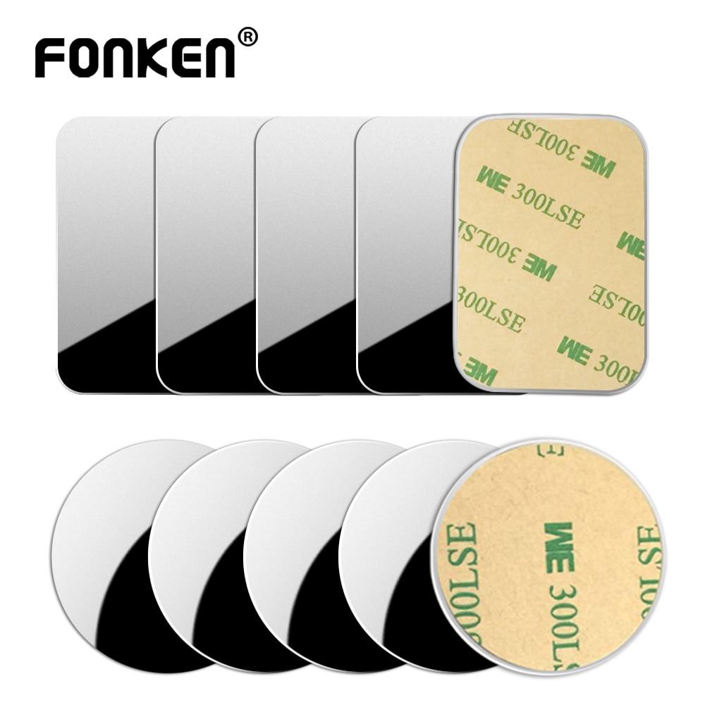 FONKEN Car Phone Holder Metal Plate Magnetic Holder Round Square Sticker Iron Sheet For Mobile Tablet Magnet Disk Desk Car Stand
