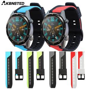 AKBNSTED 20 22 мм силиконовый ремешок для часов Huawei Watch GT/GT2, браслет для Xiaomi Huami Amazfit GTS/GTR/Bip/Stratos 3
