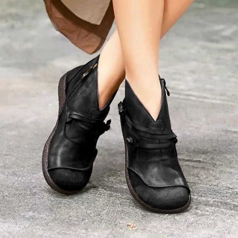 Mới 2019 Thu Đông Retro Giày Bốt Nữ Thời Trang Chính Hãng Ủng Da Cá Zapatos De Mujer Vintage Ấm Botas
