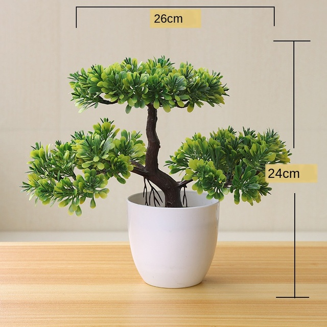 Artificial Plants Potted Bonsai Green Small Tree Plants Fake Flowers Potted Ornaments for Home Garden Decor Party Hotel Decor 6