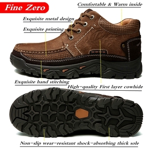 Men Casual Leather Shoes Men's Keep Warm Shoes Work Safety Shoes Winter Waterproof Ankle Botas New First Layer Cowhide Sneakers