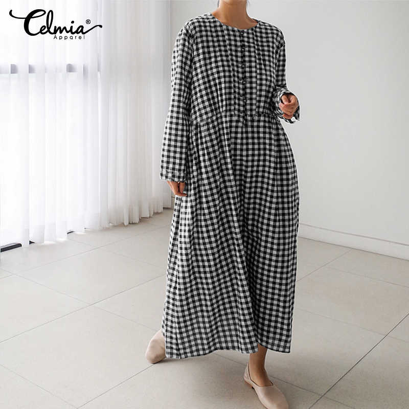 Celmia Fashion Casual Women Long Sleeve Loose Shirt Vintage Dress Plaid Maxi Dresses Elegant Party OverSized Vestidos Female 5XL