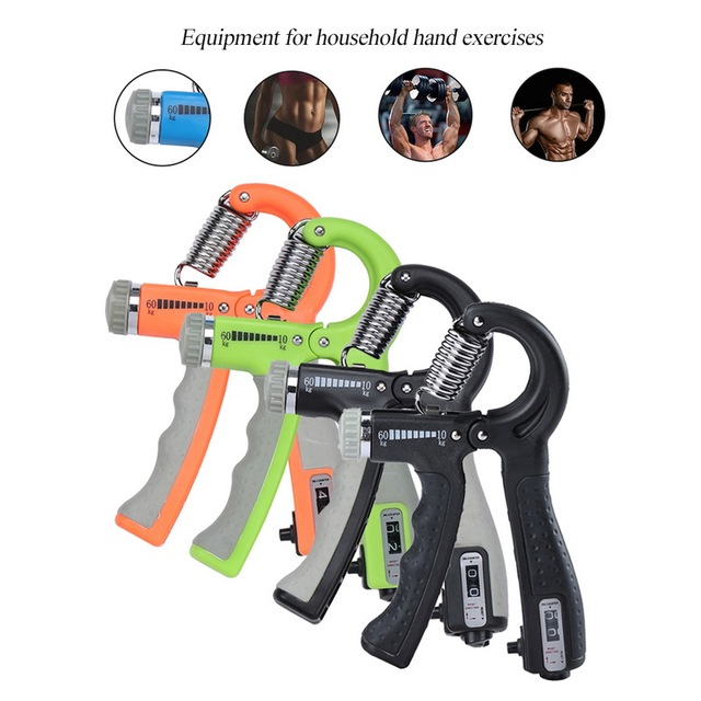 R-Shape Adjustable Hand Grip Sports Strength Countable Exercise Strengthener Gripper Spring Finger Pinch Carpal Expander 1