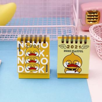 2021 Cartoon Yellow Duck Calendar Kawaii Duck Mini Desk Calendars Daily Schedule Planner 2021.9-2021.12 1