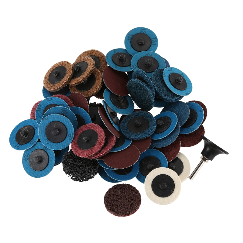 60 in 1 Sand Disc Set with 2 Inches Quick Change Disc 1/4 Inch Tray Bracket for Surface Pretreatment Strip Grinding and Polishin Sanding Discs     - title=