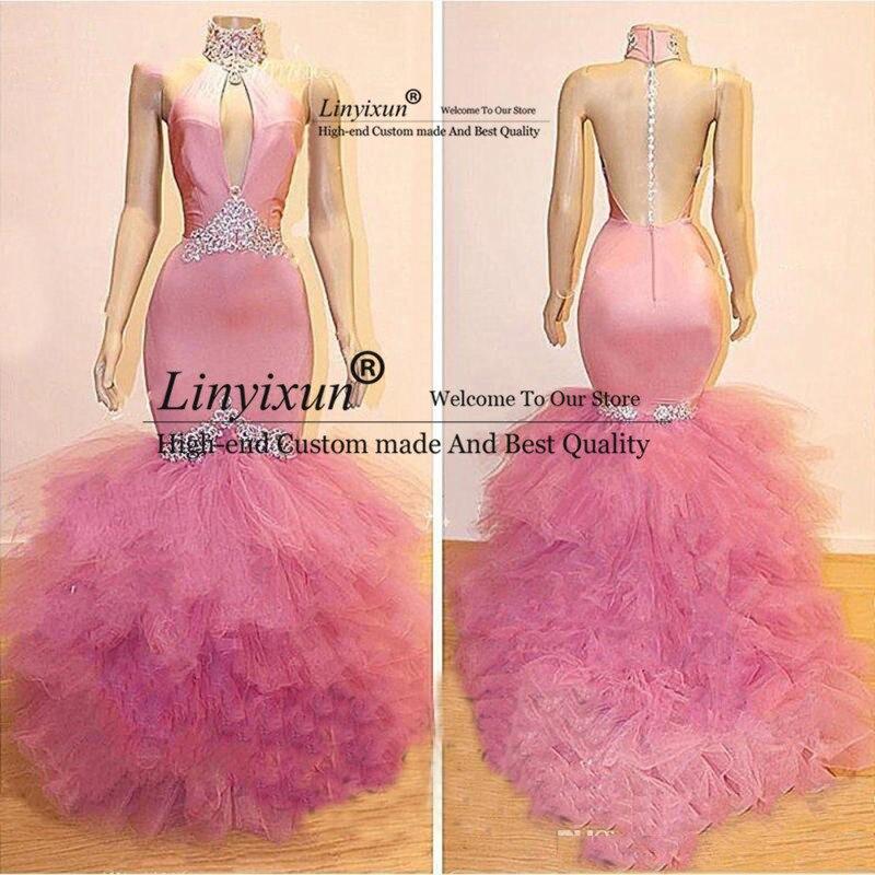 Sexy vestidos de fiesta de sirena Rosa cristal ver a través de la espalda vestidos de noche 2020 tutú volantes cuello alto vestidos formales abendleider - 2