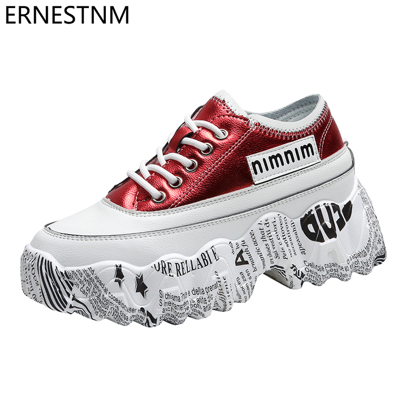 ERNESTNM 2020 Chunky Sneakers Women Bling PU Women Shoes  White Sneakers Spring Women Wedge Shoes High Platform Zapatillas Mujer
