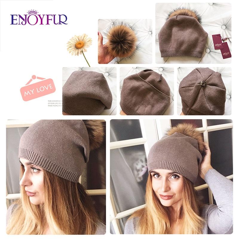 ENJOYFUR Winter women real fur pom pom hats wool knitted thick warm lined beanies hat lady fashion bobble ski caps 2