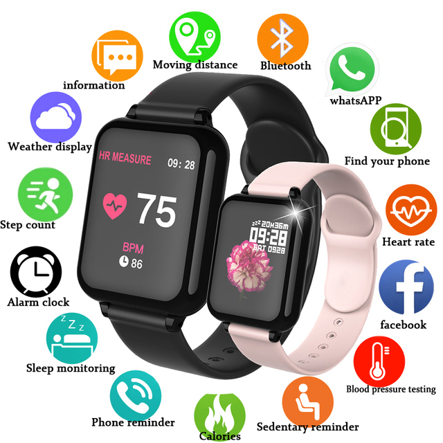B57 Smart watches Waterproof Sports Men Women Smartwatch Heart Rate Monitor Blood Pressure Fiteness Tracker PK D20 Y68 I5 Smart 1