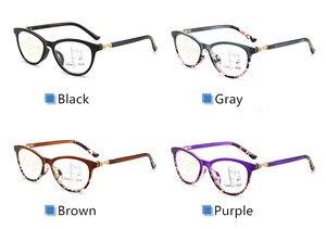 Image 5 - LONSY عالية الجودة المرأة التقدمية نظارات للقراءة مكافحة الأزرق عدسات إضاءة نظارات طويل النظر قصر النظر نظارات القراء