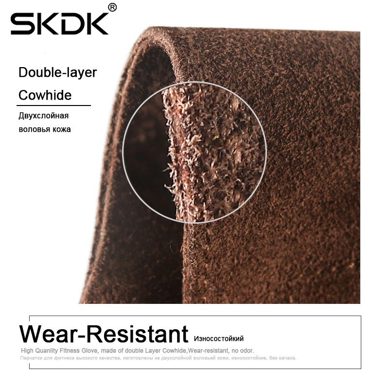 SKDK 1Pair Cowhide Gym Gloves Grips Anti Skid Weight Lifting Grip Pads Deadlifts Workout Crossfit Fitness