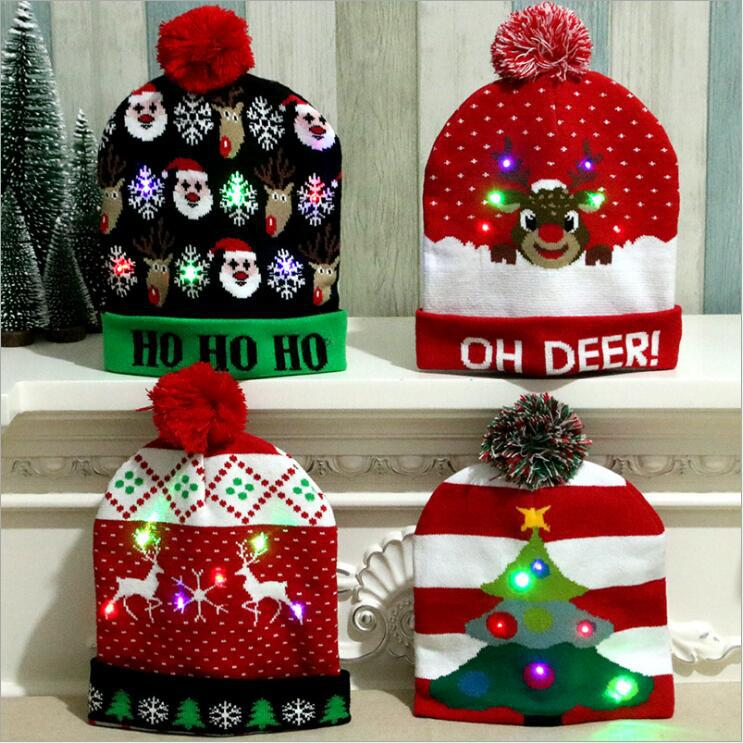 Новый год 2020 светящиеся рождественские украшения для взрослых и детей вязанная высококлассная Рождественская шапка цветные светящиеся