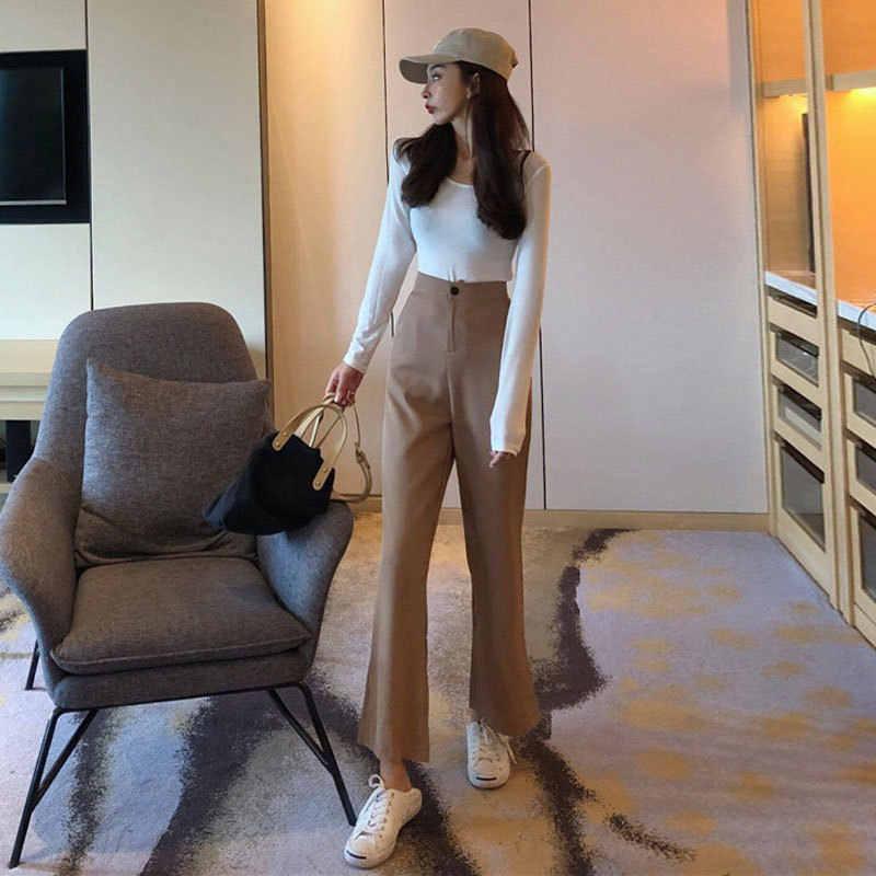กางเกงผู้หญิง 2018 ใหม่ฤดูใบไม้ร่วงสไตล์เสื้อผ้าหลวม Fit กางเกงหลวมบาง Retro Slimming เอวสูงอเนกประสงค์ boot-Cut TR