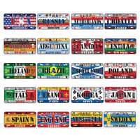 Cartel de Metal de estaño países Bandera Nacional carteles interior pintura de pared colgante Café Bar decoración placas de hierro placas de matrícula de coche signo