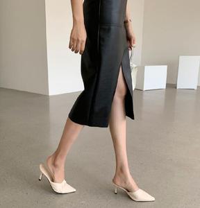 Image 4 - Jupe crayon en cuir PU pour femmes de bureau, Double poches, emballage taille haute, hanches mi longues, nouveauté 2020
