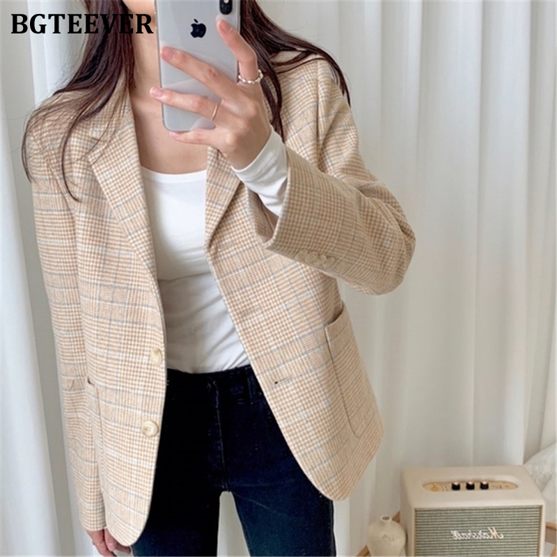 BGTEEVER Elegant Plaid Women Blazer Jacket Office Ladies Female Suit Jacket Single Breasted Women Coat Outwear Blaser Femme 2020
