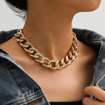 New Punk Choker Necklace for Women 2020 fashion Rhinestone Hip Hop Gold collares Thick Chain Jewelry Gifts#38 1
