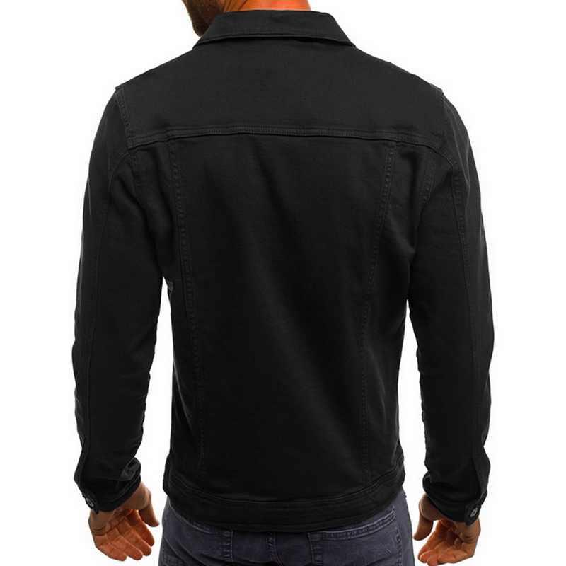 جاكيت دينم للرجال موضة 2019 جاكت جينز رجالي كاوبوي جودة عالية جاكت جينز رجالي كاجول ضيق ملابس خروج رجالية مقاس كبير 3XL